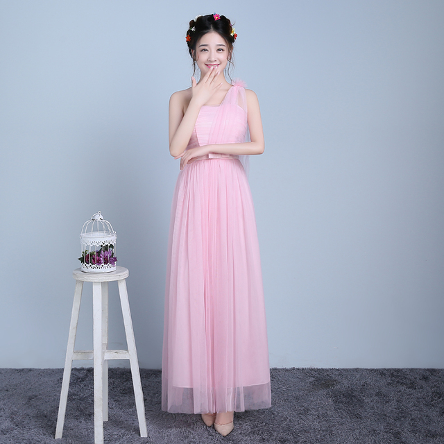 PTH-F1QF True photos new spring summer 2016 bridesmaids dress ceremony  inclined shoulder take long sisters dresses light pink 575b31671e74