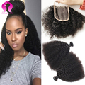 8A Mongolian Kinky Curly Virgin Hair With Closure 3 Bundles Mongolian Hair With Closure Afro Kinky Curly Hair With Closure