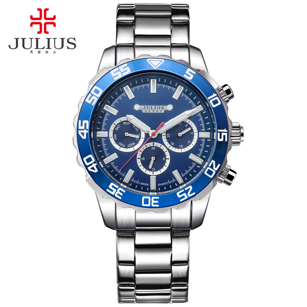 JULIUS Mens Watches Top Brand Luxury Multi Function Business Watch Mens Stainless Steel Waterproof Auto Date Male Clock JAH-096 luxury swiss auto tourbillon mens multi function watch black freeship