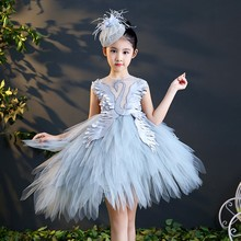 Kid Ceremony dress girl pageant banquet dresses layered fairy swan pattern feathered luxury costume tiered front short back long(China)