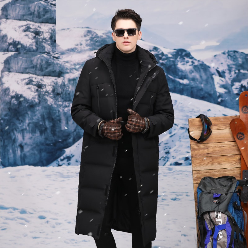 Long Men's Winter Duck Down Jacket Warm Thick Down Coat With Hat Detachable Selected Feather Clothing For Men Male 8941