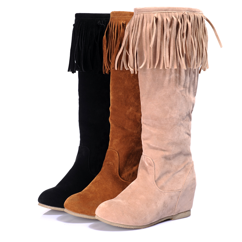 HOT Big Size 34-43 Womens Autumn Boots Flats knee high Tassel Botas Wedges Cutout Ankle Nubuck Leather Platform
