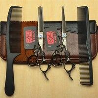 4Pcs Set 6 0 Black KASHO Professional Human Hair Hairdressing Scissors Combs Cutting Thinning Shears Big
