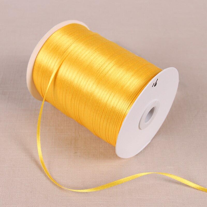 3 мм атласные ленты 22 м/лот DIY ручной работы товары для украшения свадьбы, дня рождения Подарочная упаковка белые ленты - Цвет: Golden Yellow