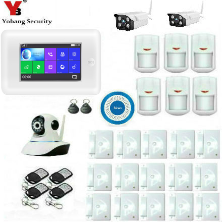 Yobang Security Russian Spanish French Touch Screen RFID GSM Wireless Smart Home Security Alarm System Outdoor Video IP Camera