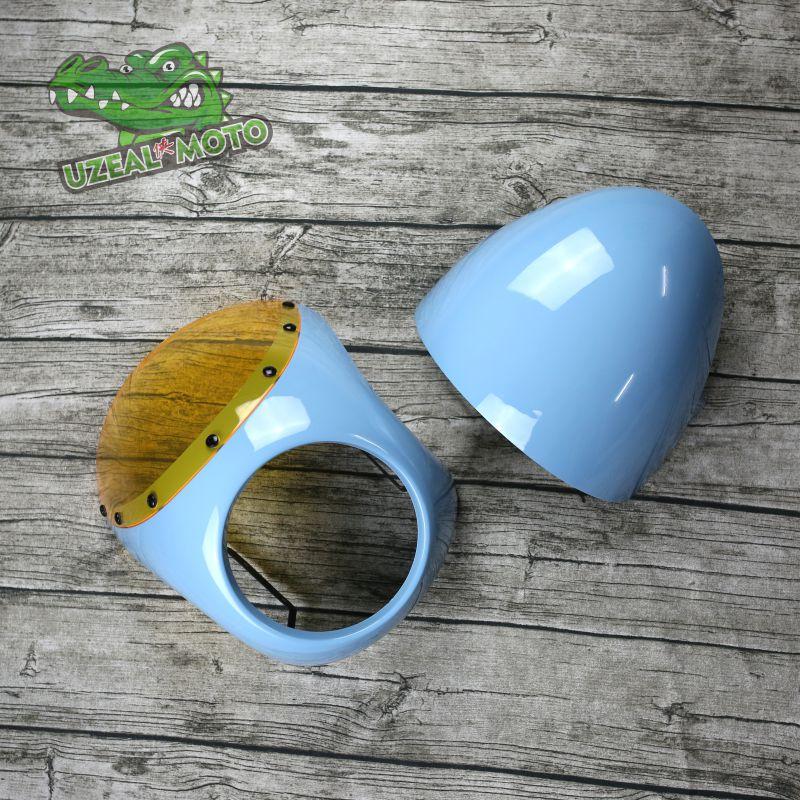 Universal Motorcycle Plastic Windscreen Windshield Cafe Racer Motorbike Wind Deflector Head Rear Cover 6 7inch headlight cover|cover covers|cover head|cover headlight - title=