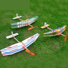 DIY ensamblado helicóptero modelo de banda de goma alas de potencia aviones de deslizamiento niños puzle avión modelo de costura Juguetes