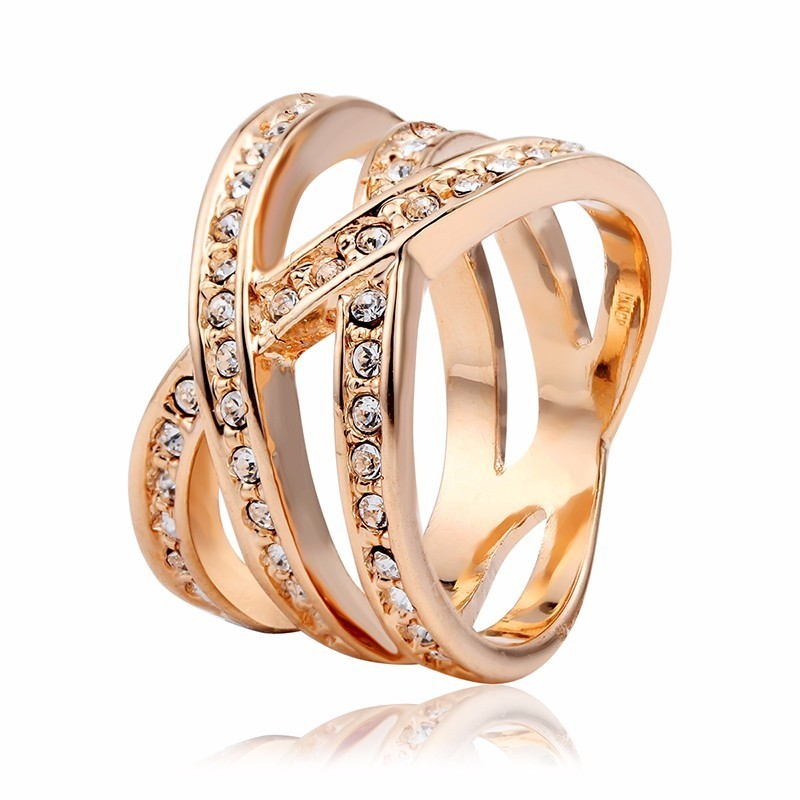 Rose Gold Color Full Crystals Wide Cross Winding Cocktail Rings For Women Girls Anillos Bague Anel Feminino Aneis Finger Jewelry