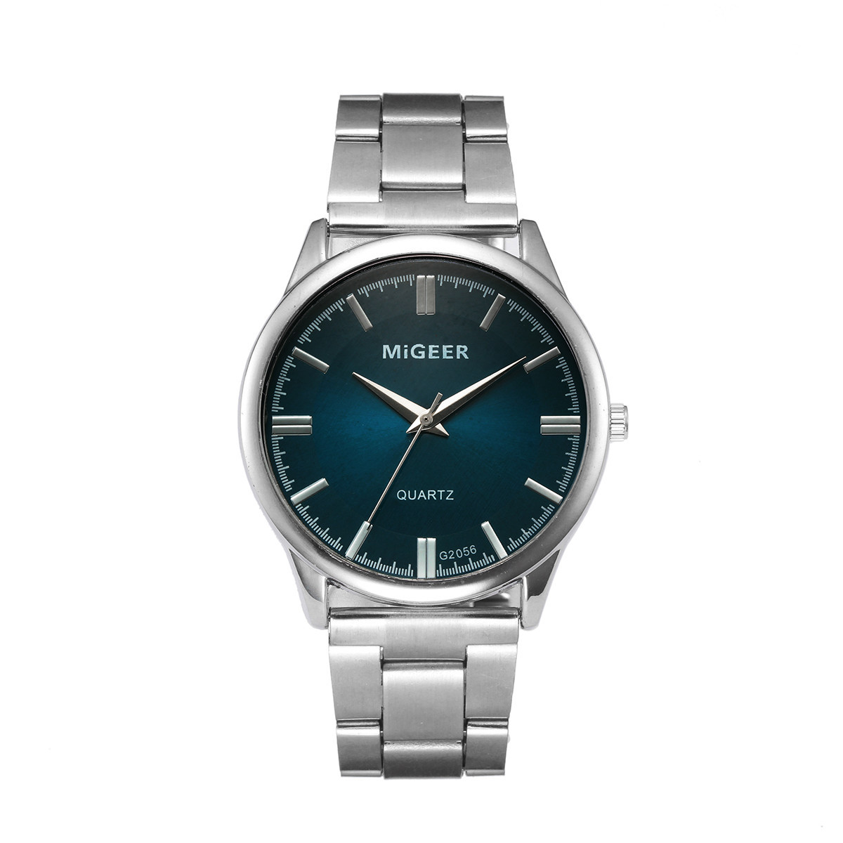 MIGEER Man Watches Crystal Fashion Stainless Steel Analog Quartz watch male watch for men quartz silver mens wristwatches