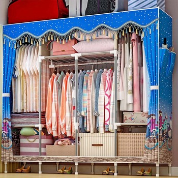 19MM Thicken Steel Pipe Simple Cloth Wardrobe Peach Skin Velvet Dust proof Closet Storage Cabinet Home