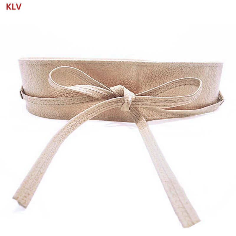 KLV Womens Soft Leather Wide Self Tie Wrap Around Obi Waist Band Boho Dress Belt