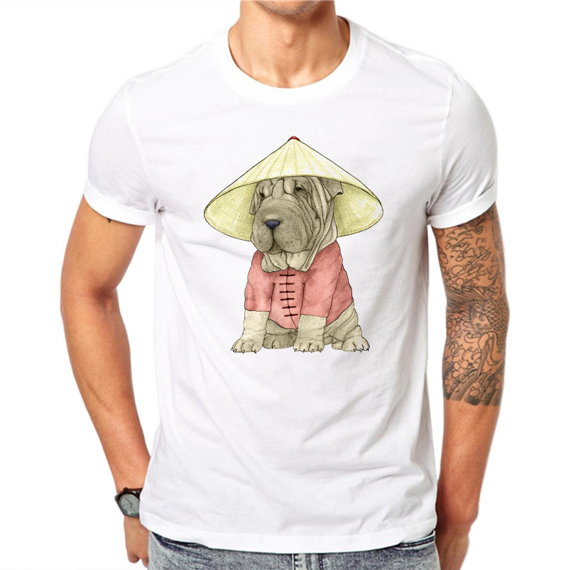 100% Cotton Summer Lovely T-shirt Men Kawaii Dog Shar Pei Printed Men T Shirt White Short Sleeve O-neck Fashion Casual Tops