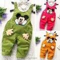 Подгузники новый весна осень детская одежда детские мальчиков девочек комбинезоны брюки мультфильма дети комбинезон вельвет нагрудник брюки
