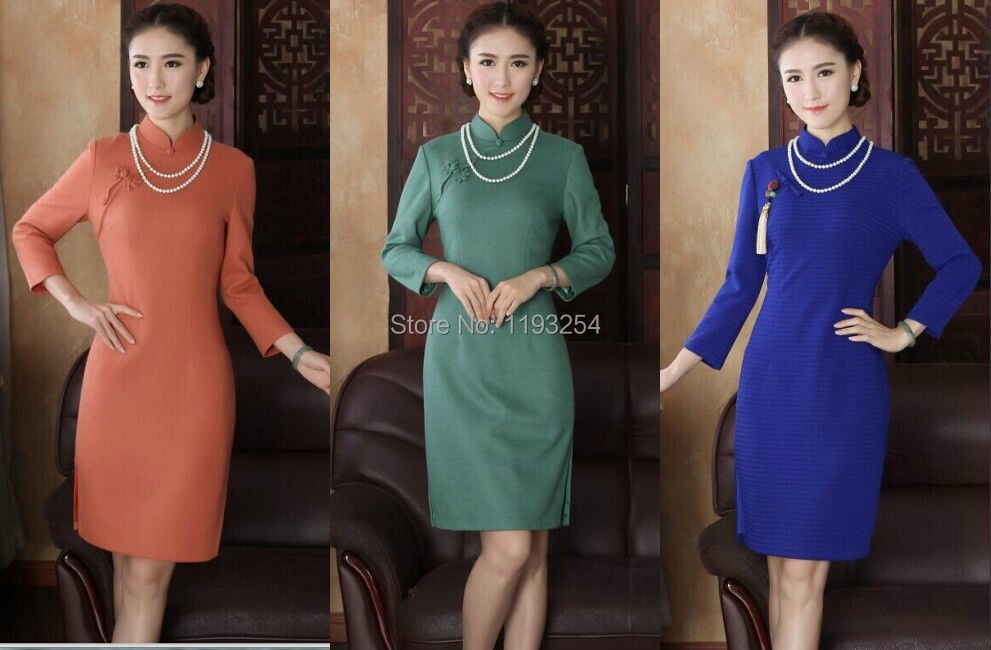 66b842b377 Spring autumn winter Chinese Traditional Women s Clothing Upscale Boutique  Green Wool Nepal Ms Cheongsam Women s Clothing dress