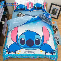 Zestaw pościeli Disney Stitch Queen pełny wymiar kołdra kołdra poszewka na poduszkę komplet pościeli pościel dziecięca do tekstyliów domowych