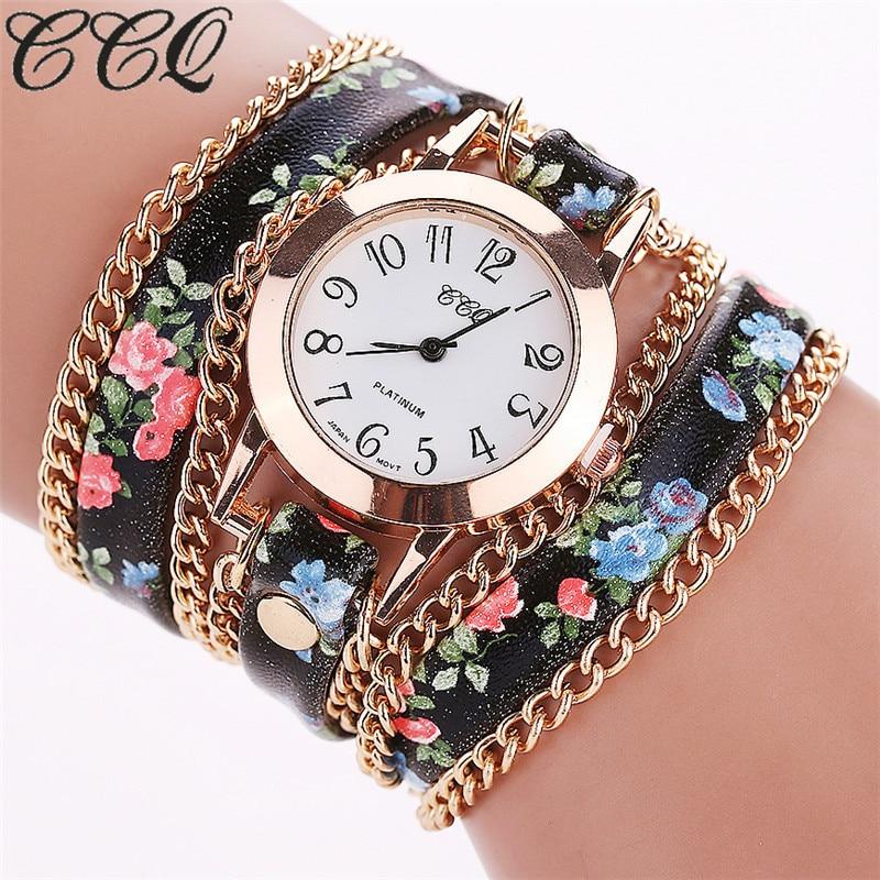 2016 CCQ Brand Women Watch Flower Leather Bracelet Wa