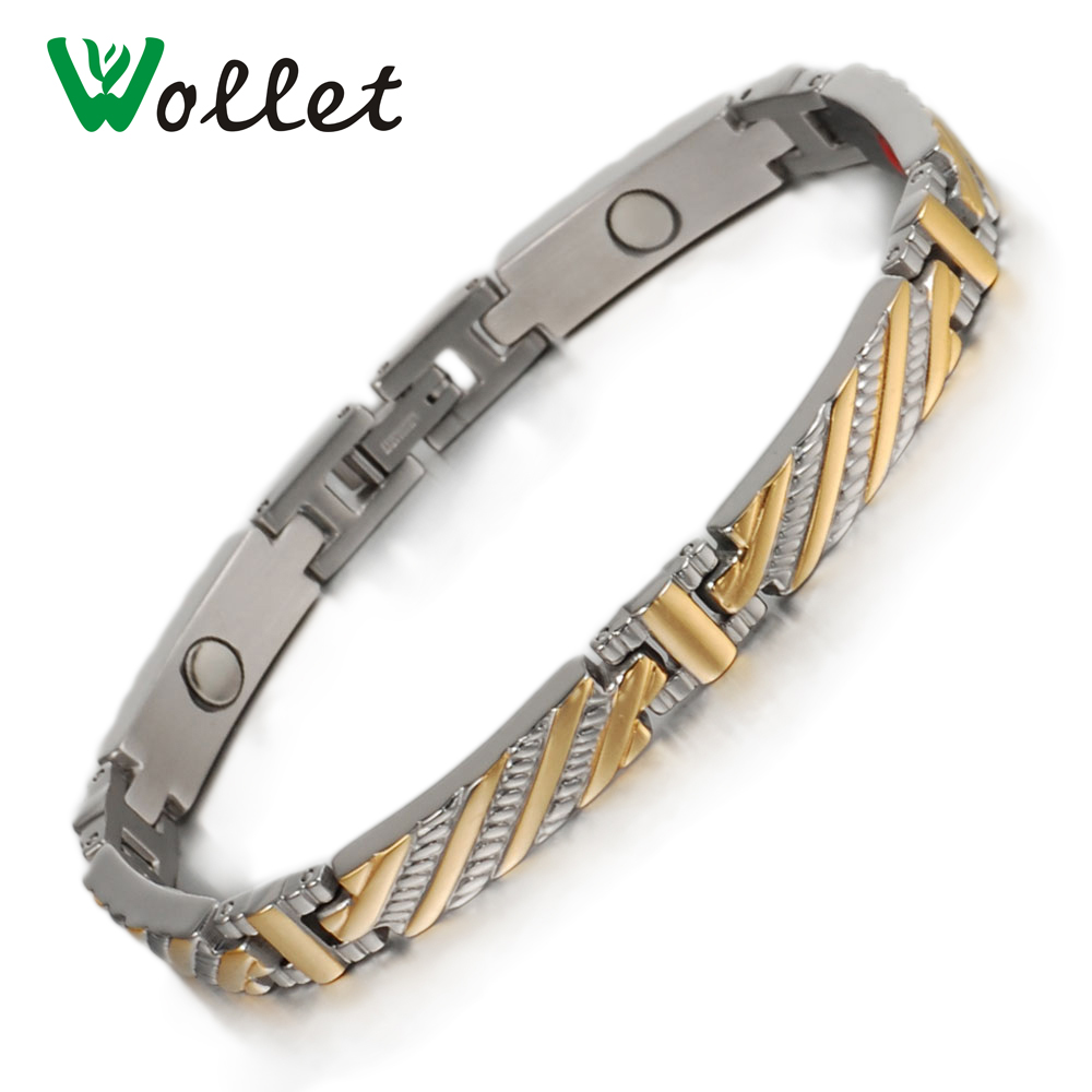 Wollet Health Energy Bio Magnetic Pure Titanium Bracelet Bangle Magnet Germanium Infrare ...