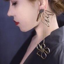 Retro Fashion Temperament Flower Earrings For Women Female Big Long Asymmetry Bronze Metal Statement Earrings Pendients Jewelry