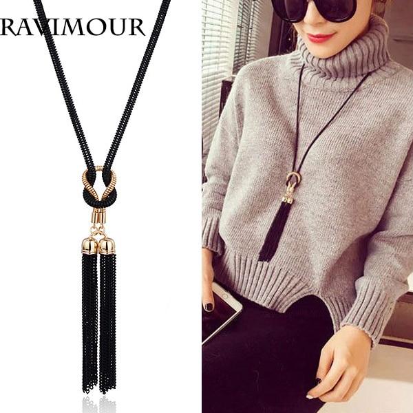 RAVIMOUR Collar largo Oro Negro Color Cadenas Collares y Colgantes Joyería Moda Borla Gargantillas Bijoux 2018 Regalos de Año Nuevo
