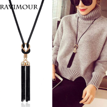 RAVIMOUR Long Necklace Gold Black Color Chains Necklaces & Pendants Jewelry Fashion Tassel Chokers Bijoux 2018 New Year Gifts