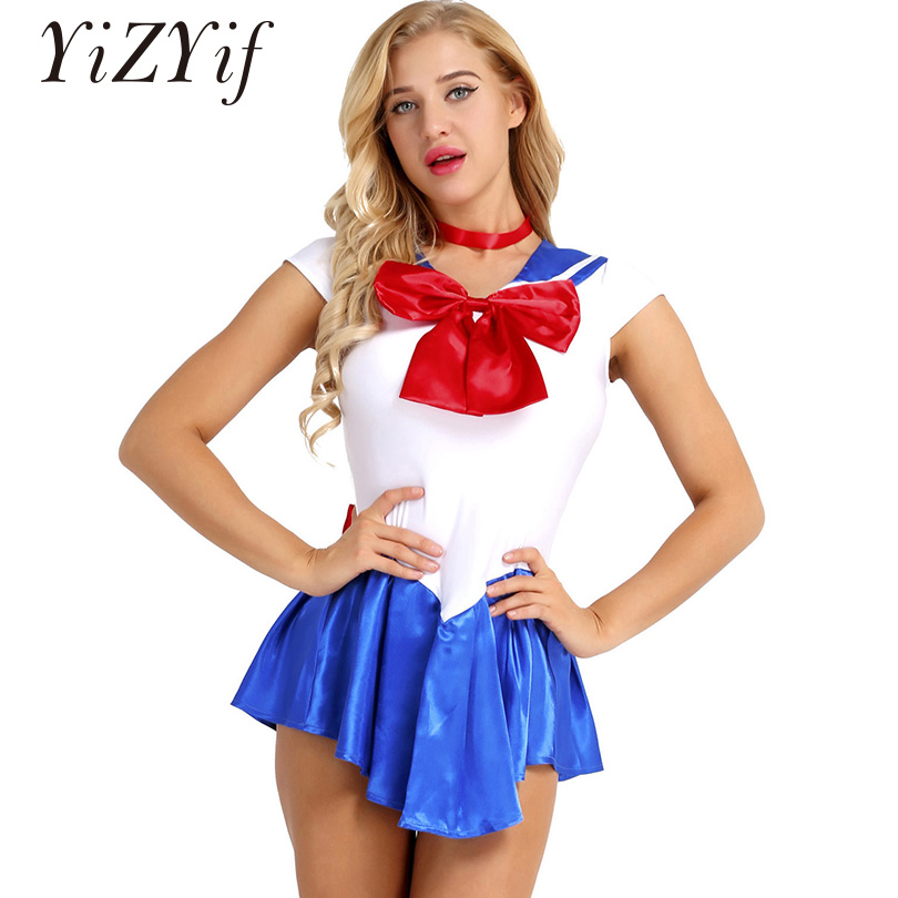 YiZYiF Anime Cosplay Dress Sailor Moon Costume Cheer Skirt Fantasia Adulto Uniform Halloween Costumes Sailor School Girl Dress