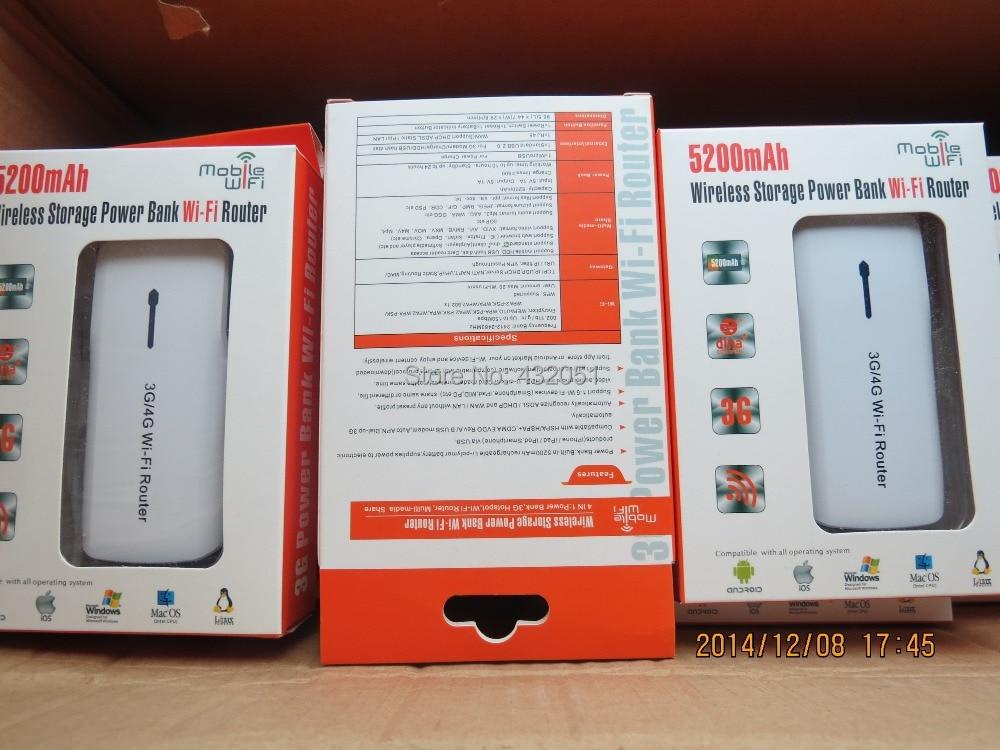Portable USB Sans Fil Wifi 3g Hotspot Routeur Wcdma/gsm 5200 mah Powerbank
