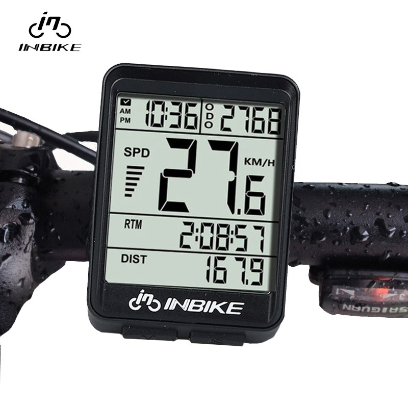 INBIKE IN321 Waterproof Wireless LCD Odometer Bicycle Computer Bicycle Speedometer Green Backlight Bicycle Accessories 1 5 lcd electronic bicycle computer speedometer blue white 1 x lr1130