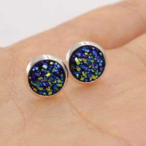 Image 5 - Fnixtar 8mm Stainless Steel Tiny Drusy Stud Earrings Round Cut Faux Druzy Earrings For Women  20 pairs/lot