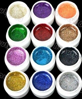 2017 New Arrival 12pcs Mix Color Shimmering Sining UV Gel Builder Nail GEL Glitter Glue 2#