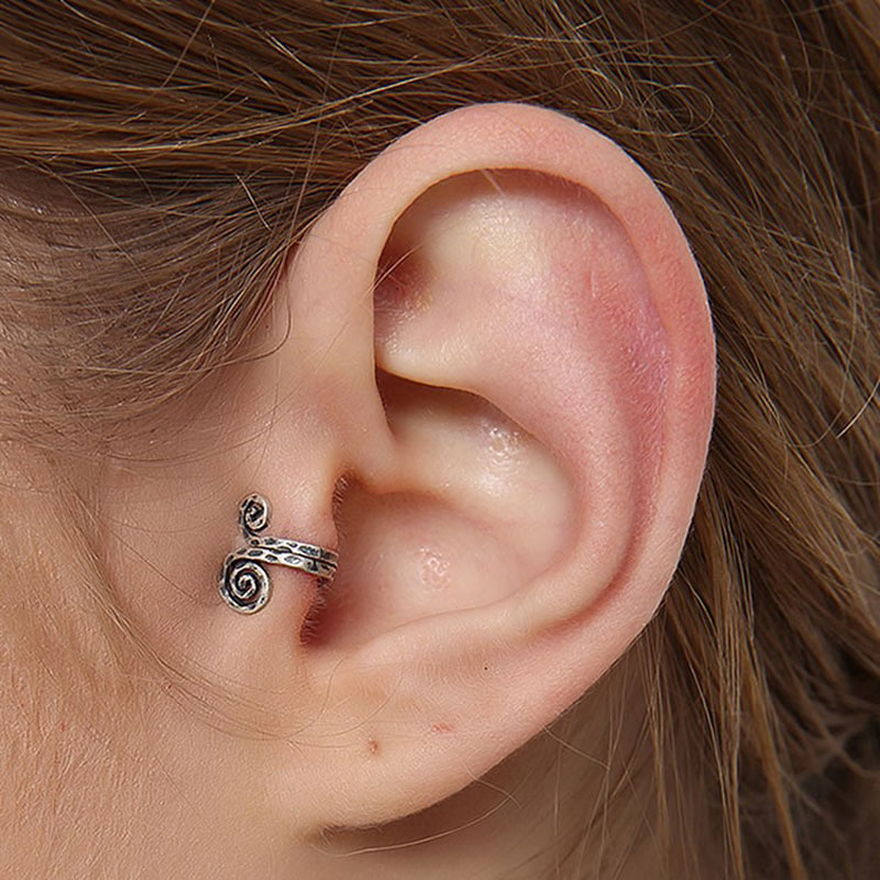 Women Vintage Snail Oxidation Black Ear Clip 925 Sterling Silver Earrings Adjustable Ear Cuff Fashion Lovely Jewelry 2018 new clip no pierced jewelry young girl women delicate micro pave black cz stack 925 silver fashion elegant ear cuff earring
