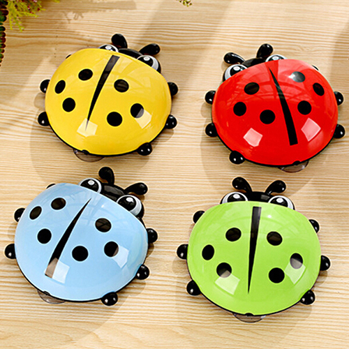 Saim Cute Cartoon Ladybug Kids Wall Suction Cup Mount Toothbrush Holder Container,Blue