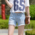 2016 summer new women's show thin waist torn burrs in loose jean shorts