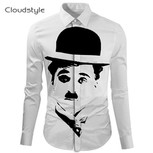 Nestest!Cloudstyle White camicie uomo di marca famosi long sleeve 3D hd painting men shirt fashion playeras hombre Ou code S-5XL
