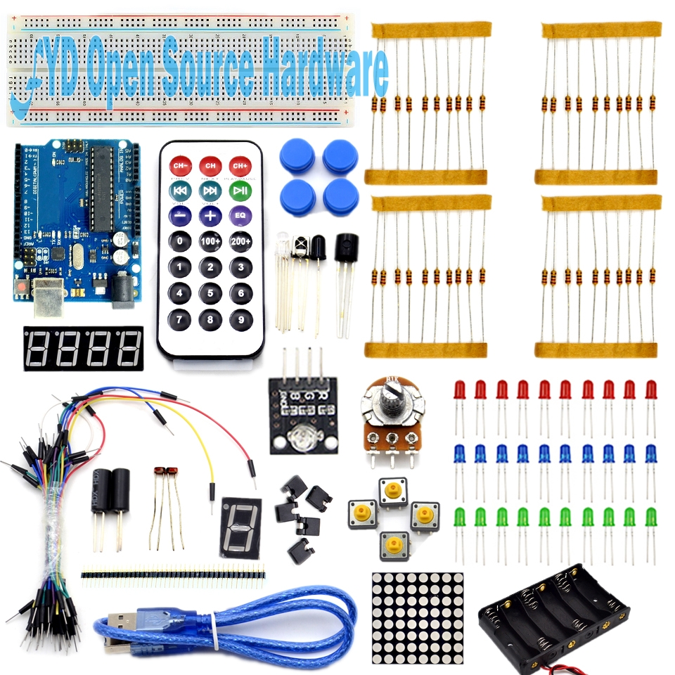 2017 New Basic Starter Kit For Arduino UNO R3 Basics Breadboard Jumper Wire Remote BROAD Robot