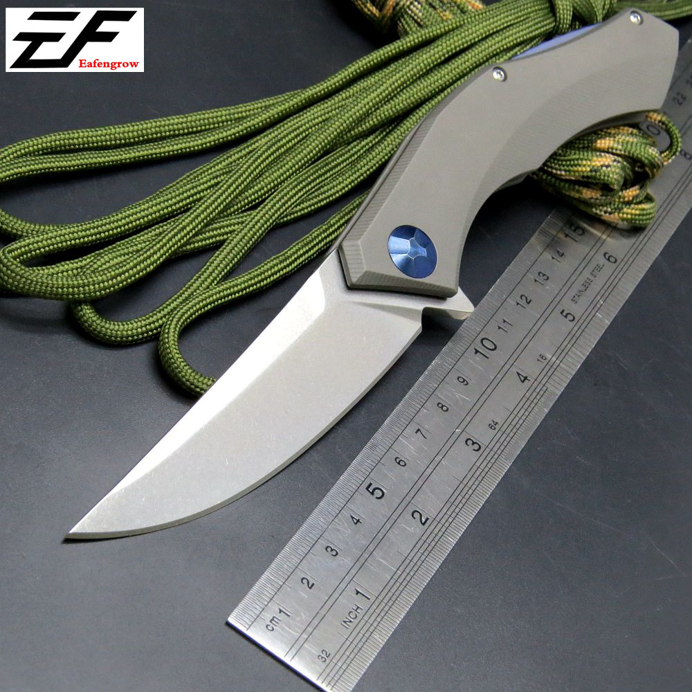 Eafengrow  Blue Moon Folding Blade Knife D2 Blade TC4 Titanium Handle Ball Bearing Flipper Tactical Camping Knives Outdoor Tool efeng moon folding knife d2 blade tc4 titanium handle ball bearing flipper tactical camping tool knife top quality