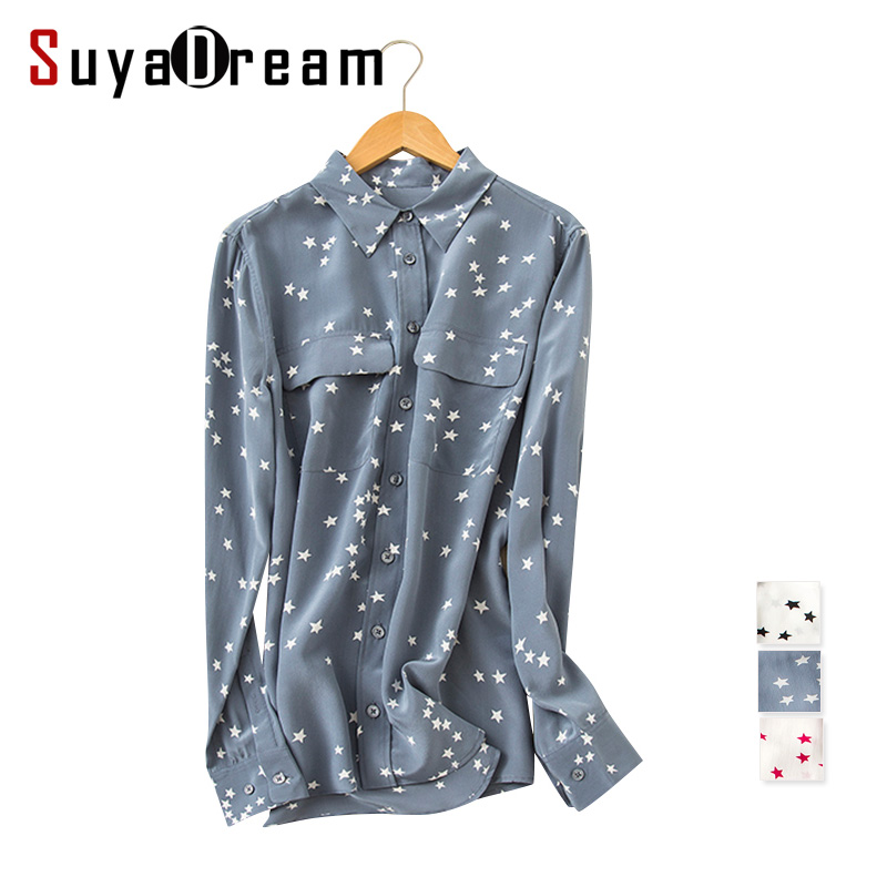 Women Blouse Two pockets long sleeve Stars print chiffon Button shirt Blusas femininas Office lady style shirt 2017 Spring