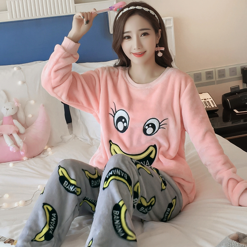 New Arrival Flannel Thick Shirt +Pants Women   Pajama     Sets   Cartoon Animal O-Neck Warm Coral Velvet Women's Suit Winter Sleepwear