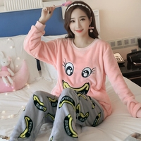 New Arrival Flannel Thick Shirt +Pants Women Pajama Sets Cartoon Animal O Neck Warm Coral Velvet Women's Suit Winter Sleepwear