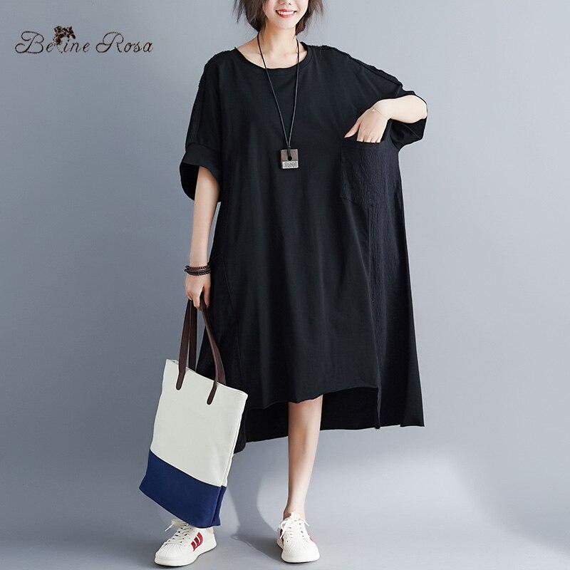 Image 2 - BelineRosa Muslim Style Womens Shirt Dress Big Sizes Dress 4XL  5XL 6XL Plus Size Dress T shirts Dresses Female YPYC0012Dresses   -