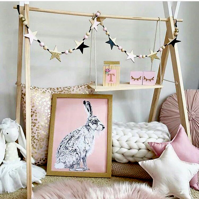 Nordic Wood Beads Stars Hanging Banner Baby Room Wall Hanging - Үйдің декоры - фото 2