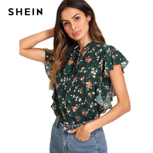 SHEIN Green Tie Neck Bow Ruffle Trim Floral Top Women Stand Collar Sleeveless Casual Blouse 2018 Summer Beach Boho Blouse