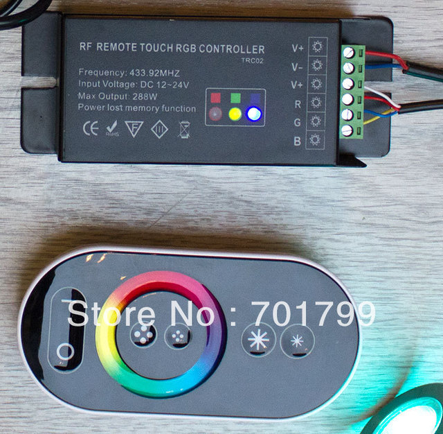 TRC02;RF RGB touch led controller,DC12-24V input,with power lost memory function