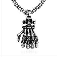 Esqueleto de Mão do crânio Pingente de Colar Homens Colar de Corrente de Aço Inoxidável Colar Do Punk Gótico Do Vintage Partido Jóias 23in