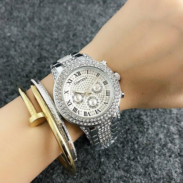 2018 New Fashion Luxury Brand Women Dress Watches Rosy Gold Ladies Diamond Quartz Analog Wrist Watches Woman Wristwatches Whatch
