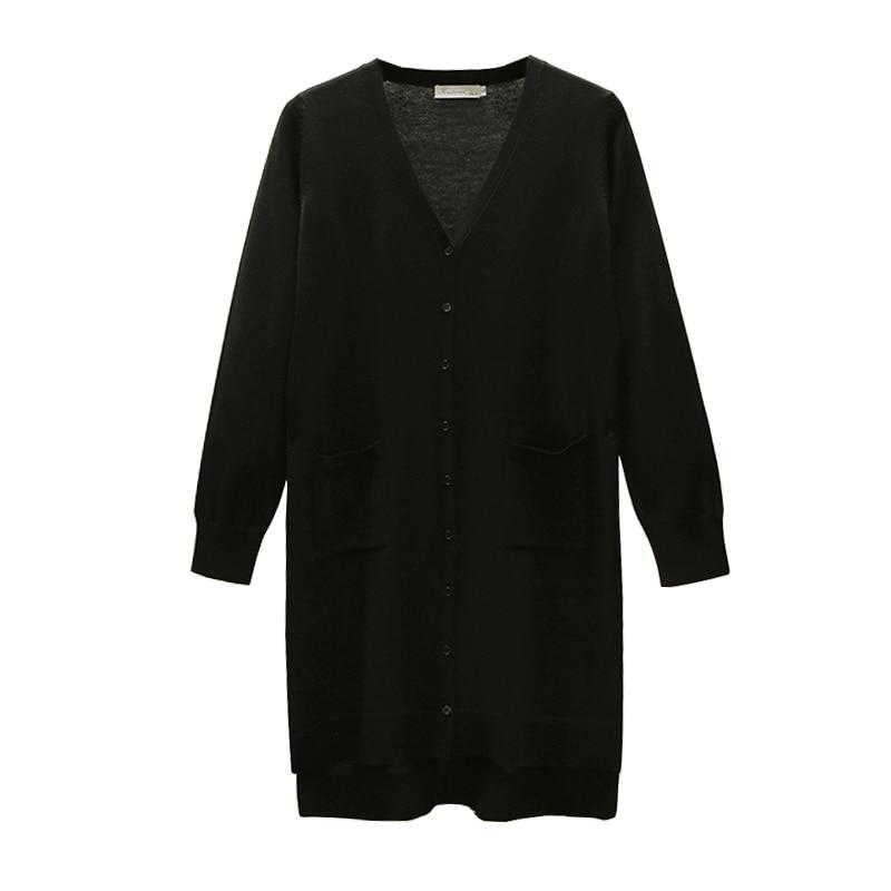 Grande Taille Cardigan Lâche Long Blue Version Et Tricoté Coréenne Moyen Femmes De Fine Veste Mince black Tenue zE5n1qxn