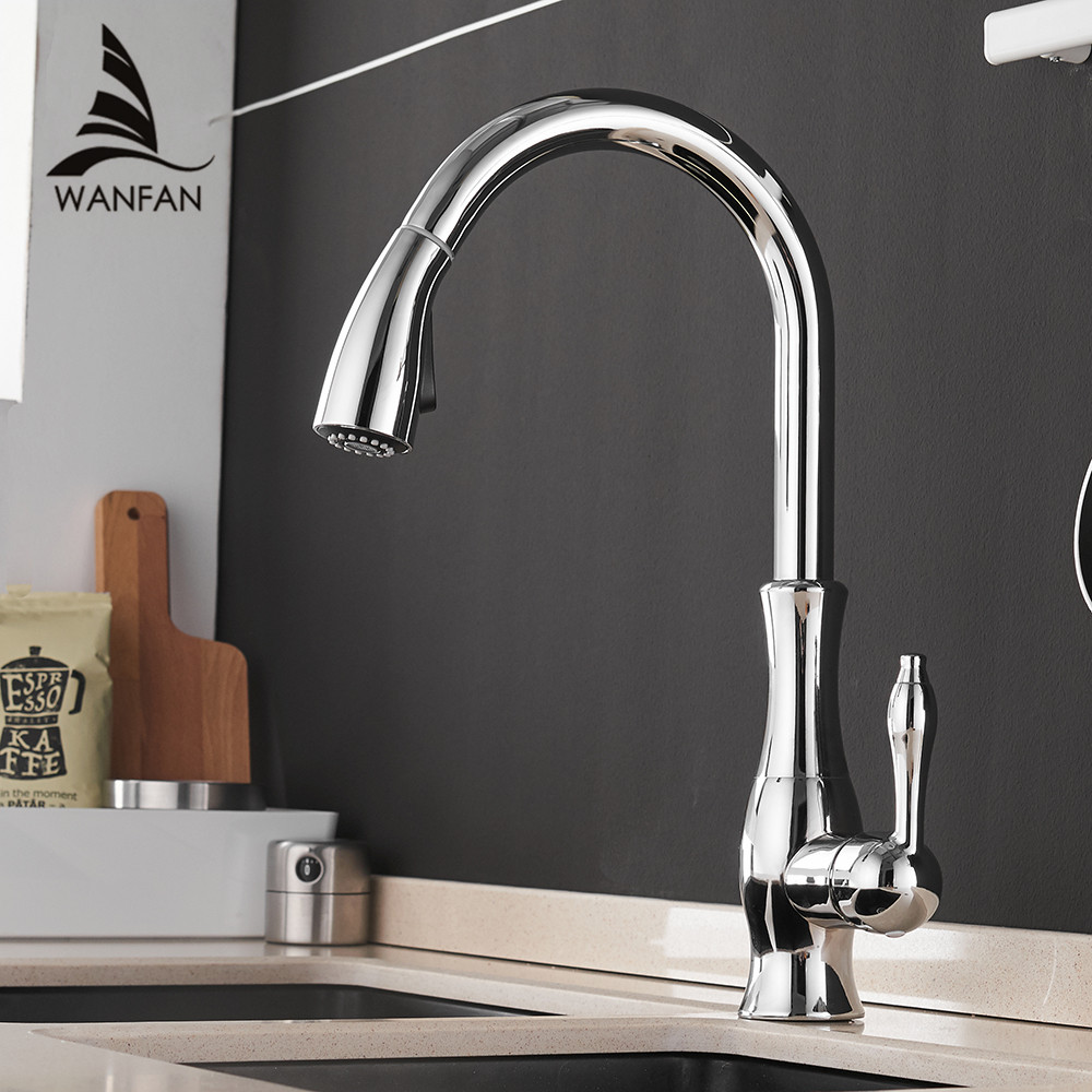 где купить Kitchen Faucets Chrome Single Handle Pull Out Kitchen Tap Single Hole Handle Swivel 360 Degree Water Mixer Tap Mixer Tap 866011 по лучшей цене