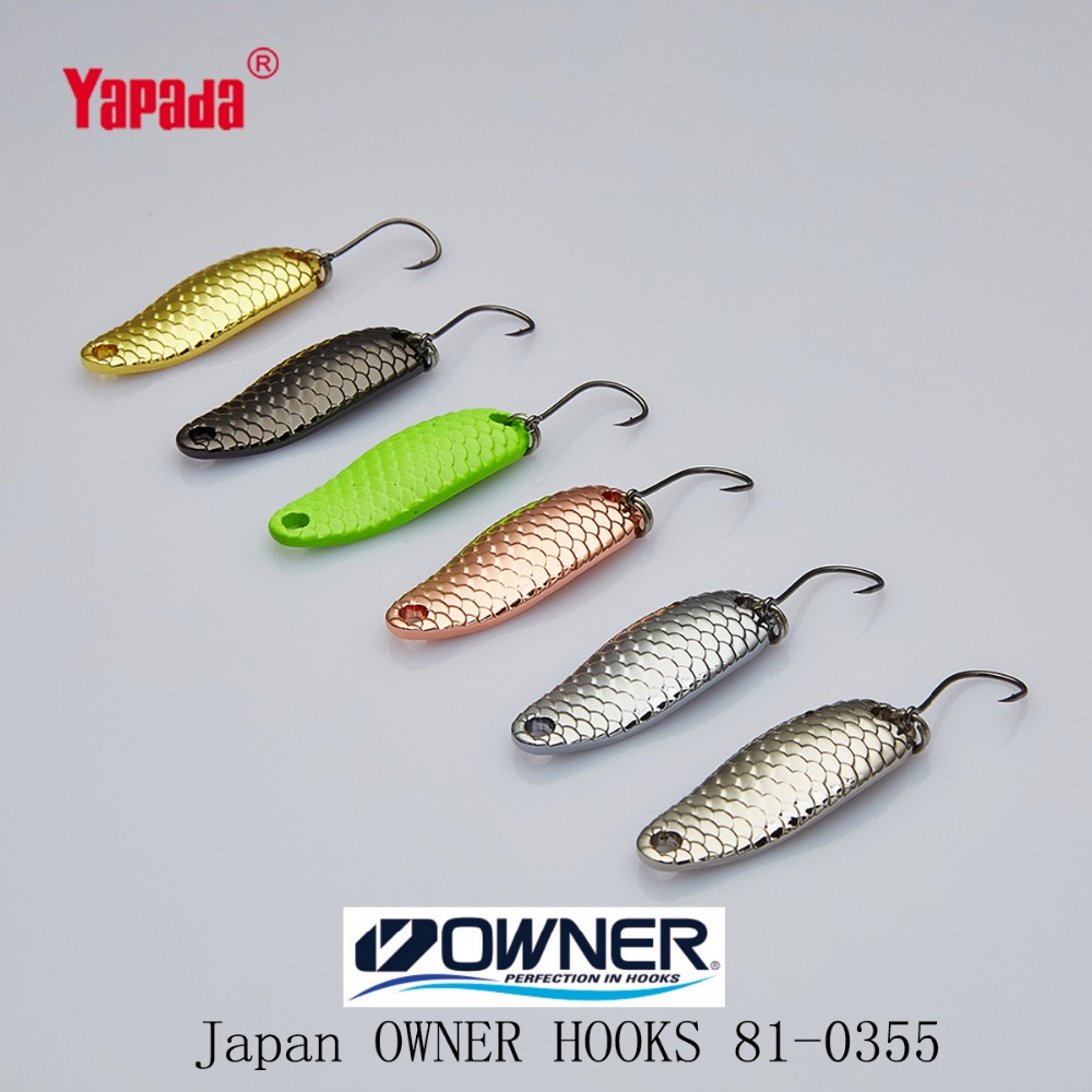 YAPADA Spoon 007 Loong Scale OWNER HOOK 1.5g/2g/2.5g 24-29mm 6piece/lot Multicolor Metal Spoon Fishing Lures owner pin hook черный хром 04