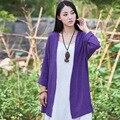 Estilo Kimono de manga Larga de Lino del verano de Las Mujeres Blusas Camisa Floja Plus size Kimono Camisa Marca Ocasional Mori chica Blusa De Lino B052