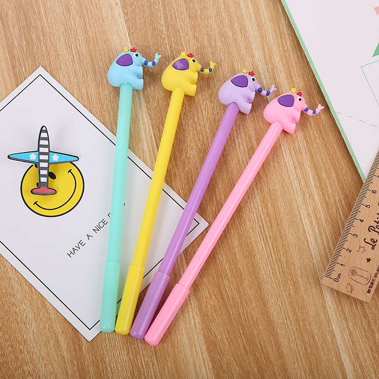24 pcs criativo elefante neutro caneta adoravel dos desenhos animados aprendizagem artigos de papelaria agua caneta