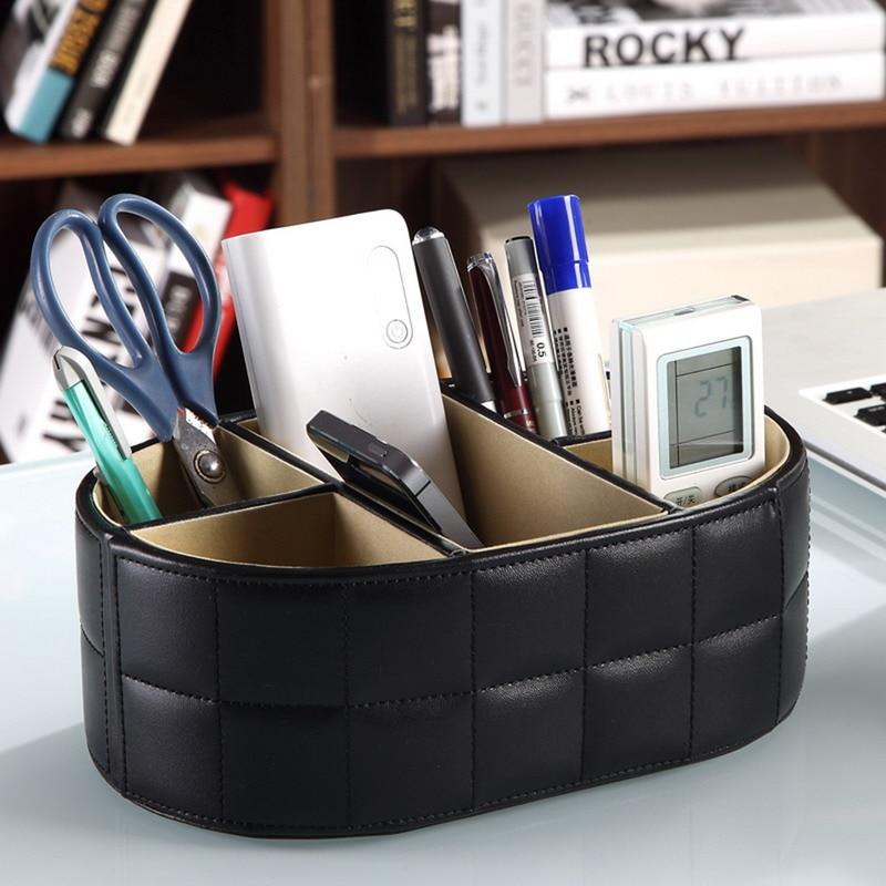 PU Leather Storage Box Remote Controller Phone Holder Home Office Organizer Storage Boxes Desk Stationery Organizer Pencil Box